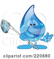 Royalty Free RF Clipart Illustration Of A Blue Water Droplet Character Holding A Net