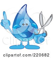 Royalty Free RF Clipart Illustration Of A Blue Water Droplet Character Holding Scissors