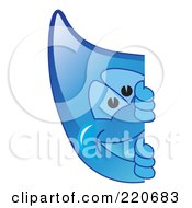 Royalty Free RF Clipart Illustration Of A Blue Water Droplet Character Looking Around A Blank Sign