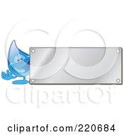 Royalty Free RF Clipart Illustration Of A Blue Water Droplet Character By A Blank Silver Plaque
