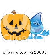 Blue Water Droplet Character With A Halloween Pumpkin