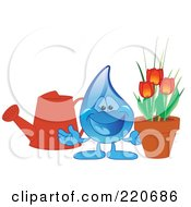 Royalty Free RF Clipart Illustration Of A Blue Water Droplet Character With A Watering Can And Tulips