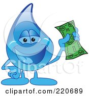 Royalty Free RF Clipart Illustration Of A Blue Water Droplet Character Holding Cash