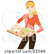 Clipart Illustration Picture Of A Healthy Young Blond Caucasian Woman Holding A Tray Of Sliced Apples Celery Cheese And Grapes
