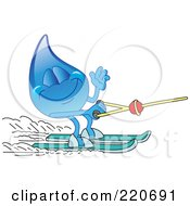 Royalty Free RF Clipart Illustration Of A Blue Water Droplet Character Waving And Water Skiing