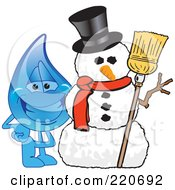 Royalty Free RF Clipart Illustration Of A Blue Water Droplet Character With A Snowman