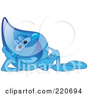 Royalty Free RF Clipart Illustration Of A Blue Water Droplet Character Reclined