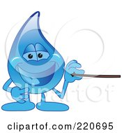 Royalty Free RF Clipart Illustration Of A Blue Water Droplet Character Using A Pointer Stick