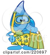 Royalty Free RF Clipart Illustration Of A Blue Water Droplet Character In Snorkel Gear