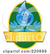 Royalty Free RF Clipart Illustration Of A Blue Water Droplet Character Logo With A Green Oval And A Blank Gold Banner by Toons4Biz
