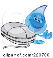 Royalty Free RF Clipart Illustration Of A Blue Water Droplet Character With A Comptuer Mouse by Toons4Biz