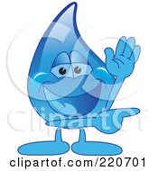 Royalty Free RF Clipart Illustration Of A Blue Water Droplet Character Waving And Pointing by Toons4Biz