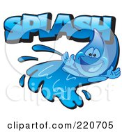 Royalty Free RF Clipart Illustration Of A Blue Water Droplet Character Going Down A Water Slide With Splash