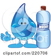 Royalty Free RF Clipart Illustration Of A Blue Water Droplet Character Holding A Bottle Of Water