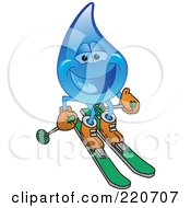 Royalty Free RF Clipart Illustration Of A Blue Water Droplet Character Skiing by Toons4Biz