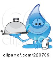 Royalty Free RF Clipart Illustration Of A Blue Water Droplet Character Carrying A Food Platter by Toons4Biz