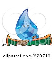 Royalty Free RF Clipart Illustration Of A Blue Water Droplet Character Kayaking