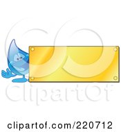 Royalty Free RF Clipart Illustration Of A Blue Water Droplet Character By A Blank Gold Plaque by Toons4Biz