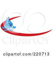 Royalty Free RF Clipart Illustration Of A Blue Water Droplet Character Logo With A Red Dash by Toons4Biz