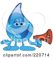 Royalty Free RF Clipart Illustration Of A Blue Water Droplet Character Holding A Megaphone