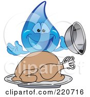 Royalty Free RF Clipart Illustration Of A Blue Water Droplet Character Serving A Thanksgiving Turkey by Toons4Biz