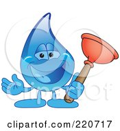 Royalty Free RF Clipart Illustration Of A Blue Water Droplet Character Holding A Toilet Plunger by Toons4Biz
