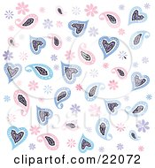 Clipart Picture Of A Background Of Pink And Blue Flowers And Paisley Hearts Over White by Steve Klinkel