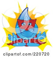 Royalty Free RF Clipart Illustration Of A Blue Water Droplet Character Super Hero by Toons4Biz