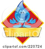 Royalty Free RF Clipart Illustration Of A Blue Water Droplet Character Logo With A Red Diamond And A Blank Gold Banner by Toons4Biz