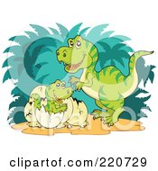 Royalty Free RF Clipart Illustration Of A Mother Tyrannosaurus Rex Watching Her Baby Hatch From An Egg