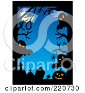 Royalty Free RF Clipart Illustration Of A Border Of Spooky Ghosts Tombstones Spiders Bats And Pumpkins Against A Blue Night by visekart