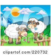Royalty Free RF Clipart Illustration Of Cute Sheep In A Mountainous Pasture