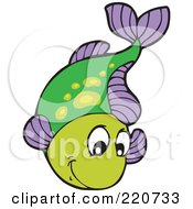 Royalty Free RF Clipart Illustration Of A Cute Green And Purple Fish Leaping Out Of Water
