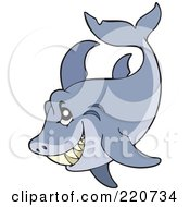 Royalty Free RF Clipart Illustration Of A Sneaky Gray Shark by visekart