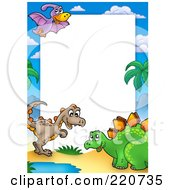 Royalty Free RF Clipart Illustration Of A Border Of Three Cute Dinosaurs Around White Space