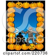 Halloween Border Of Pumpkins A Haunted House And Mummy Over Blue