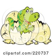 Royalty Free RF Clipart Illustration Of A Cute Baby Tyrannosaurus Rex Hatching From An Egg