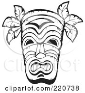 Royalty Free RF Clipart Illustration Of A Black And White Wooden Hawaiian Tribal Mask by visekart
