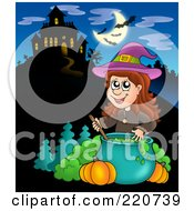 Royalty Free RF Clipart Illustration Of A Witch Stirring Liquid In A Cauldron Near A Haunted House With Bats In The Sky