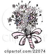 Clipart Picture Of A Colorful Spring Bridal Bouquet With Pink White And Purple Daisy Flowers