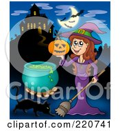 Royalty Free RF Clipart Illustration Of A Witch Holding A Pumpkin Near A Haunted House With Bats In The Sky
