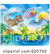 Royalty Free RF Clipart Illustration Of Three Cute Dinosaurs In A Prehistoric Landscape