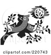 Royalty Free RF Clipart Illustration Of A Black Silhouetted Mother And Baby Owls Perched On A Branch by visekart