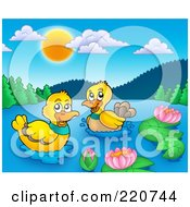 Pair Of Happy Ducks Swimming In A Mountainous Lake
