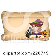 Royalty Free RF Clipart Illustration Of A Halloween Witch On A Horizontal Parchment Scroll With A Spell Book Pumpkin And Cat by visekart