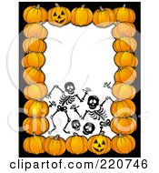 Royalty Free RF Clipart Illustration Of A Halloween Border Of Pumpkins Around Creepy Skeletons On White
