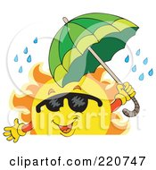 Royalty Free RF Clipart Illustration Of A Happy Sun Wearing Shades And Holding An Umbrella In The Rain Over A Blank Sign