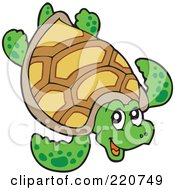Royalty Free RF Clipart Illustration Of A Happy Sea Turtle
