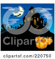 Royalty Free RF Clipart Illustration Of Three Pumpkins Near A Haunted House With Bats In The Sky
