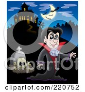 Vampire And Tombstone Near A Haunted House With Bats In The Sky